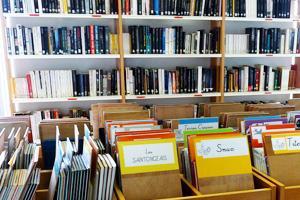 livres dans des bacs